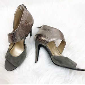 Audrey Brooke leather gray heels size 7 1/2